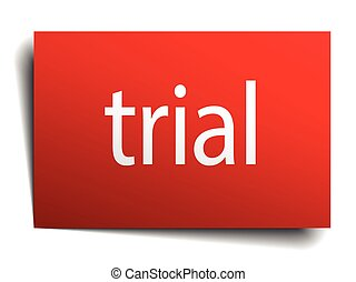 trial red paper sign on white background