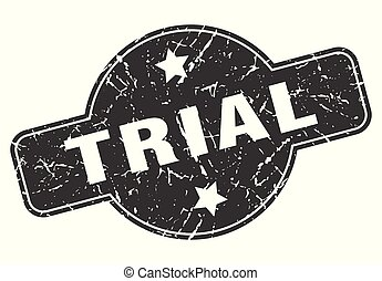 trial round grunge isolated stamp