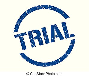 trial stamp - trial blue round stamp