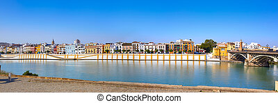 Triana barrio of Seville panoramic Andalusia Sevilla Spain