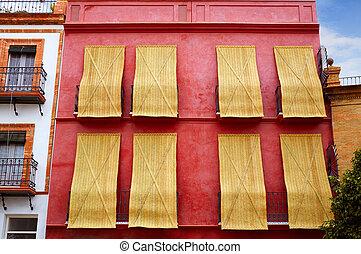 triana, barrio, von, sevilla, fassaden, andalusien, spanien