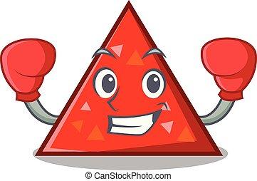 triangel, boxeo, carácter, caricatura, estilo