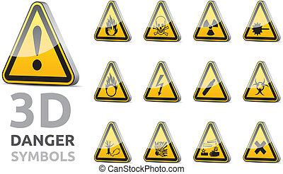Triangel danger sign 3D