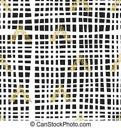 triangel, guld, celler, pattern., hand, bakgrund., oavgjord, geometrisk, abstrakt, semless