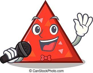 triangel, mascota, canto, estilo, caricatura