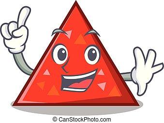 triangel, mascota, estilo, caricatura, dedo