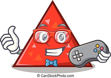 triangel, mascota, estilo, caricatura, gamer