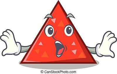 triangel, mascota, estilo, sorprendido, caricatura
