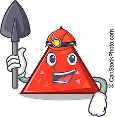 triangel, mascota, minero, estilo, caricatura