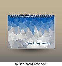 triangel, täcka, sky, anteckningsbok, ringa, mountains, polygonal, mönster, grå, format, begrepp, vektor, broschyr, blå, över, a5, spiral, -, bindemedel, landskap, layout, eller, dagbok