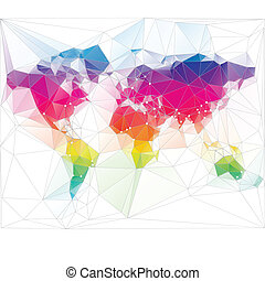 triangel, värld, design, färgad, karta