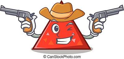 triangel, vaquero, carácter, estilo, caricatura