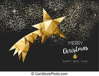 triangle, étoile, or, joyeux, année, nouveau, noël, heureux
