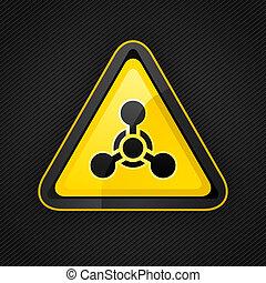 triangle, arme, métal, signe danger, chimique, avertissement, surface