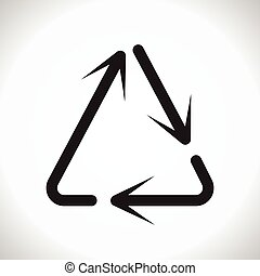 triangle arrow reuse sign circular arrows sign vector