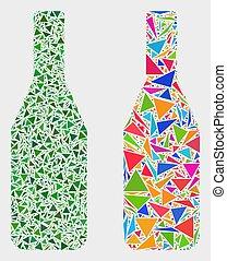 triangle, articles, vecteur, bouteille, icône, mosaïque, vin