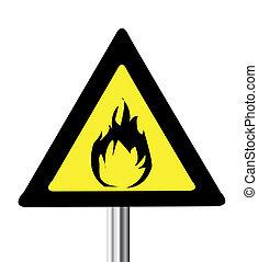 triangle, avertissement, inflammable, signe jaune