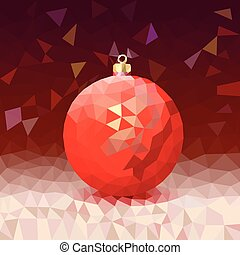 Triangle background with bright Christmas ball