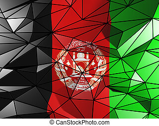 Triangle background with flag of afghanistan
