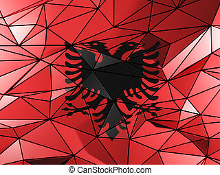Triangle background with flag of albania