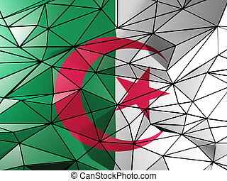 Triangle background with flag of algeria