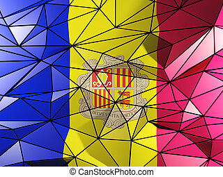 Triangle background with flag of andorra