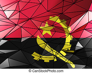 Triangle background with flag of angola