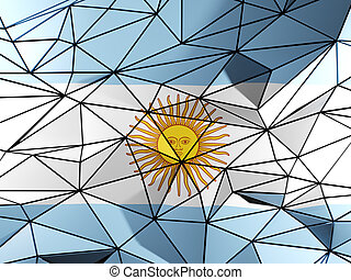 Triangle background with flag of argentina