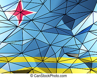 Triangle background with flag of aruba