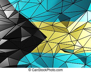 Triangle background with flag of bahamas