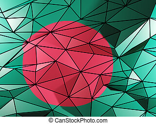 Triangle background with flag of bangladesh