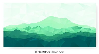Triangle background with green mountain - Triangle...