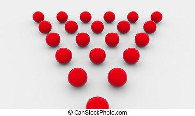 triangle, balles, isométrique, revêtu, fond, surface., ...