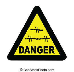 Triangle Barbed Wire Warning Sign