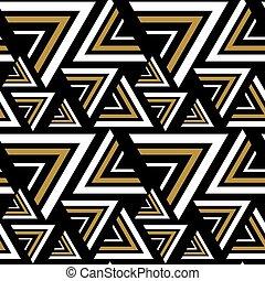 Triangle black, white, golden seamless pattern. Vector Illustration