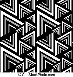 Triangle black, white seamless pattern. Vector Illustration