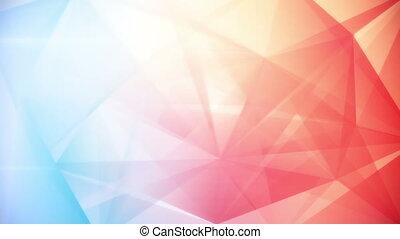 triangle bleu, résumé, géométrique, arrière-plan rouge, boucle