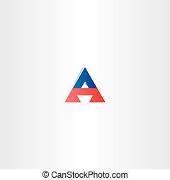 triangle bleu, symbole, logotype, lettre, rouges