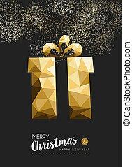triangle, cadeau, or, joyeux, année, nouveau, noël, heureux