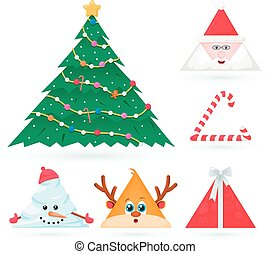 Triangle Christmas Ornaments - vector set of triangle...
