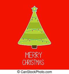 Triangle Christmas tree with lights. Merry Christmas card.