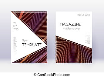 Triangle cover design template set. Orange abstract lines on...