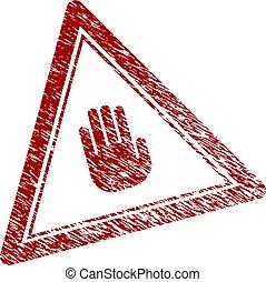 triangle, détresse, timbre, textured, arrêt, main, cachet