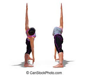 triangle, dos femme, poses, yoga, devant, pose