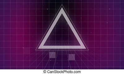 Triangle exploding on purple grid while virtual square ...
