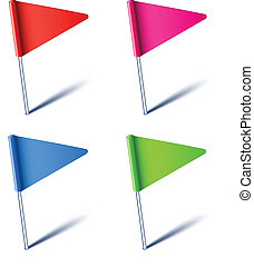 Triangle flags. - Vector illustration of color pin flags.