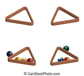 triangle for playing billiards, balls for pool and snooker in a realistic design. Isolated vector on white background