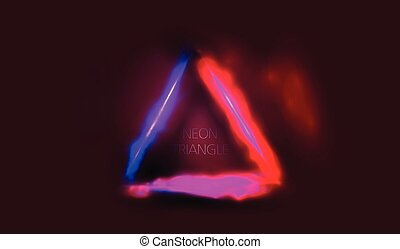triangle frame neon glowing with light blue and pink with space for your text