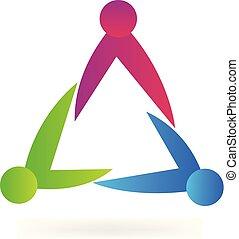 triangle, gens, collaboration, icône