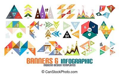 Triangle geometric infographic templates set